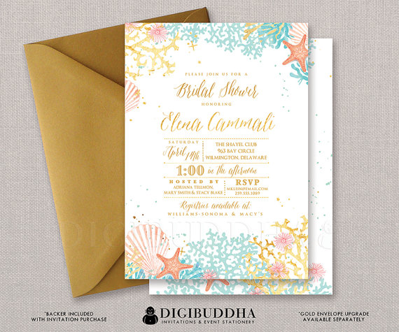 Beach Bridal Shower Invitation Watercolor Ocean Coral Gold Foil