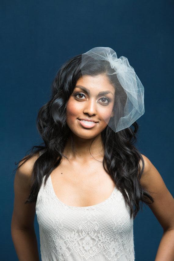 Hochzeit - Wedding Veil, Silk Tulle Veil, Birdcage Veil, Blusher Veil, Silk Wedding Veil, Small Veil, Mini Veil,