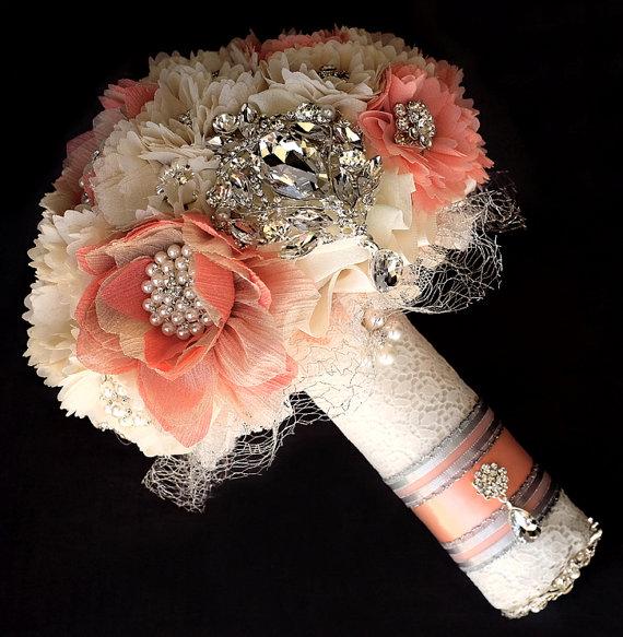 Hochzeit - Vintage Bridal Brooch Bouquet - Pearl Rhinestone Crystal - Silver Peach Pink Ivory - BB050LX