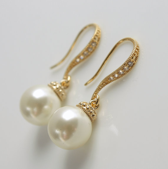 Pearl Earrings Cubic Zirconia Dangle Bridal Bridesmaid Gold Cream Or White Ivory Swarovski Wedding Jewelry
