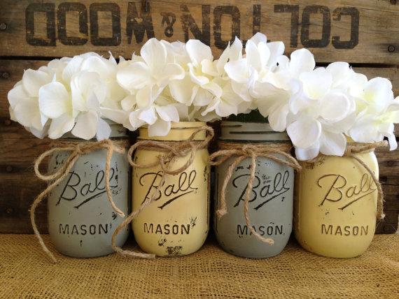 Set Of 4 Pint Mason Jars Ball Jars Painted Mason Jars Flower