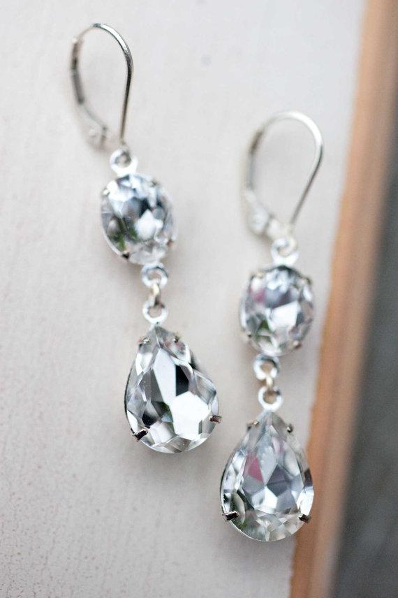 Hochzeit - Bridal Jewelry Vintage Earrings Wedding Jewelry June Bride Estate Style Bridal Earrings Sterling Silver