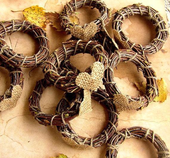 Свадьба - 30/40 Wedding Napkin Ring - Rustic Wedding Decor - Burlap Fall Wedding - Rustic Napkin Holder - Birch Twigs - Woodland Wedding - Country