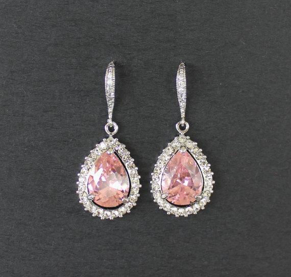 Свадьба - Pink Crystal Earrings, Custom Color Earrings, Bridal Teardrop Earrings, Pink Crystal Jewelry, Bridal Jewelry,  ROSE PINK