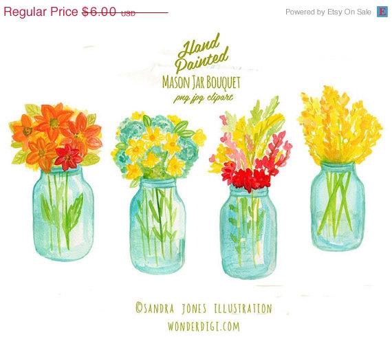 Свадьба - Clipart SALE Watercolor Clipart - Watercolor Clip Art  - Mason Jar Bouquet