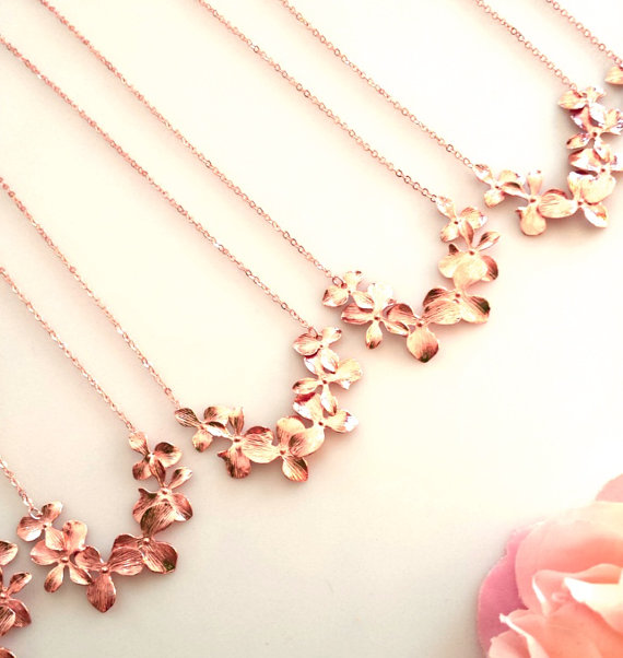 Свадьба - SALE!!! Rose Gold Orchid Necklace, Flower Wedding Necklace, Statement, Wedding Jewelry,Bridal,Bridesmaid Gift, Pendant, Gift