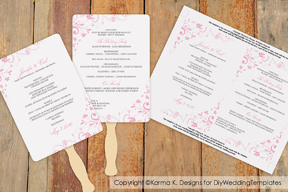 Свадьба - DiY Wedding Fan Program Template - DOWNLOAD Instantly - EDITABLE TEXT - Chic Bouquet (Pink) 5 x 7 - Microsoft® Word Format