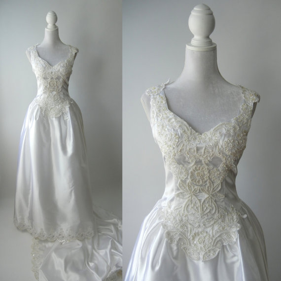 Vintage Wedding Gown, White Satin Wedding Dress, 1980 Wedding Gown ...