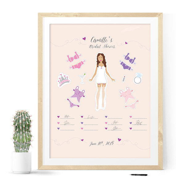 bridal shower guest book with paper doll illustration lingerie bridal party bridal shower decoration bride to be bridal shower ideas