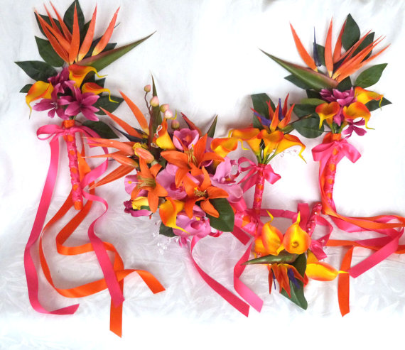زفاف - Reserved Tropical wedding bouquet matching boutonnieres orange fuchsia pink tropical bouquets