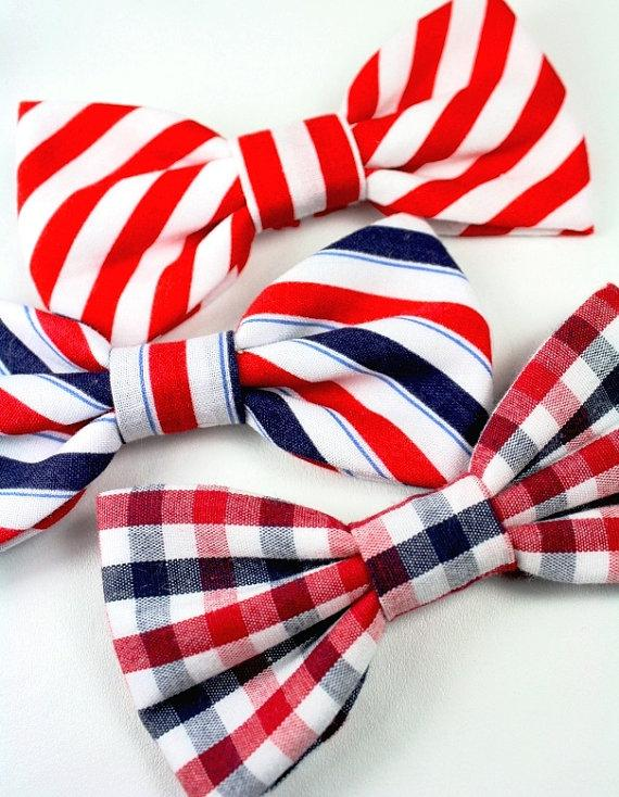 Свадьба - Red White Blue Dog Bow Tie Cat Bow Tie 4th of July Patriotic Striped Bowtie