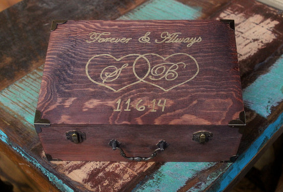 Card Box Wine Ceremony Love Letter Personalized Distressed