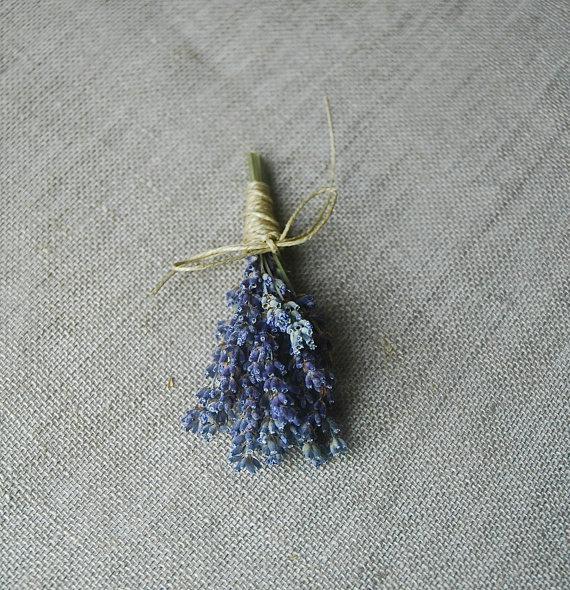 زفاف - 1 Fat Lavender Boutonniere or Corsage with Custom Hemp Twine or Ribbon Wrap
