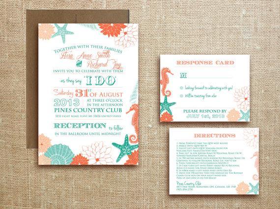 Mariage - PRINTABLE Beach Tropical WEDDING INVITATION Destination Wedding - Miami suite