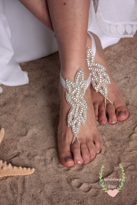 Свадьба - Bridal Barefoot Sandals,Anklet Rhinestone Barefoot Sandles,Beach Wedding,Boho Slave Crystal Anklet, Bridesmaid Prom Evening Wear Shoes,