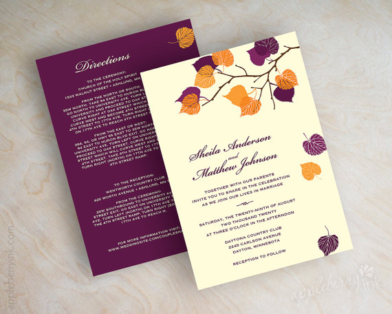 Mariage - Birch tree wedding invitations, autumn wedding stationery, fall wedding invitations, fall invites, ivory orange and purple invites, Serena