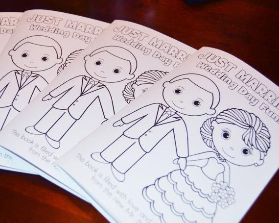 INSTANT DOWNLOAD 85x55 Printable Wedding Coloring Activity Booklet Favor Kids PDF Diy