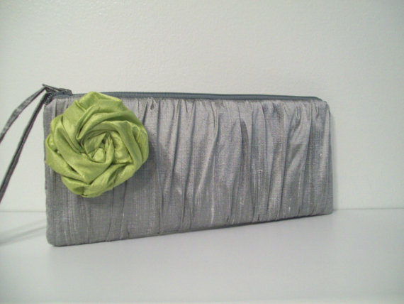 Wedding - Ruched Clutch w/Rose -choose colors- (Monogramming available) Bridesmaid gifts, bridesmaid clutches, bridal clutches wedding party
