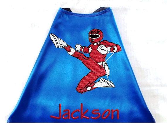زفاف - Kid's Super Hero Cape,  Embroidered Power Ranger Personalized with Monogram Royal Blue