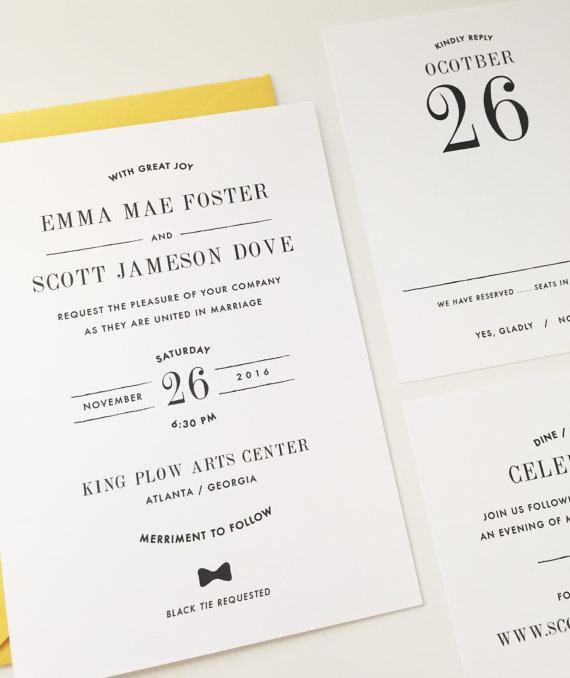 Wedding Invitation Debonair Design Modern Stylish Block Bow