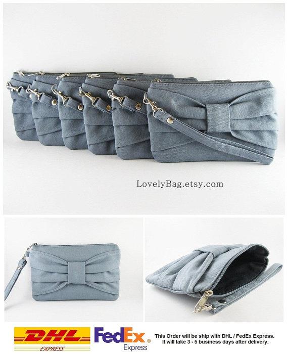 زفاف - SUPER SALE - Set of 5 Gray Bow Clutches - Bridal Clutches, Bridesmaid Clutches, Bridesmaid Wristlet, Wedding Gift - Made To Order