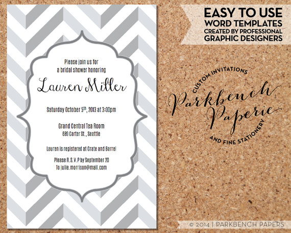 Mariage - Bridal Shower Invitation - Gray Chevron- DIY Editable Word Template, Instant Download, Printable