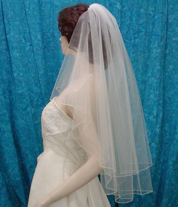 Mariage - White 2 Tier Fingertip Bridal Wedding Veil Center Gathered / Butterfly Accented with Scattered Swarovski Crystals