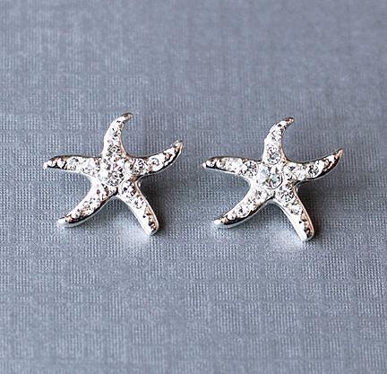 Свадьба - Bridal Earring Wedding Earring Rhinestone Earring Crystal Earring Beach Starfish Stud Earring Wedding Jewelry ER029LX