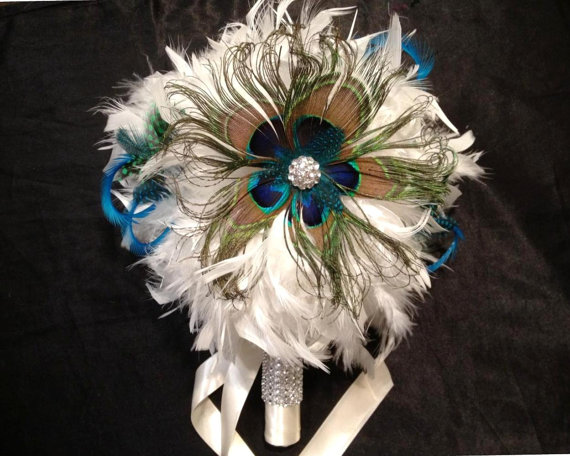 Mariage - VINTAGE BLING Ivory or White Peacock Feather Bridal Bouquet Wedding Bouquets Bling Crystal Custom Bride Feathers Colors Turquoise Blue Green