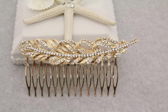 Свадьба - Gold Bridal Hair Comb,Swarovski Pearl Wedding Hair Comb,Crystal Leaf Bridal Headpiece,Wedding Hairpiece,Wedding hair jewelry bridal comb