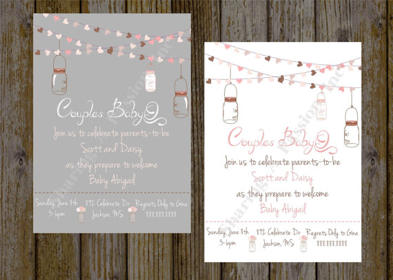 Mason Jar Baby Shower Invite   Couples Baby Shower BBQ   Printable   BabyQ  Invitation   Rustic Shower Invitation   Couples Shower Invitation
