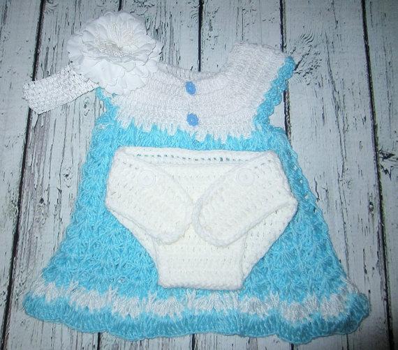 Свадьба - Blue Baby Dress Crochet Baby Dress headband, diaper cover, girls dress, summer dress, flower girl dress,photo prop outfit