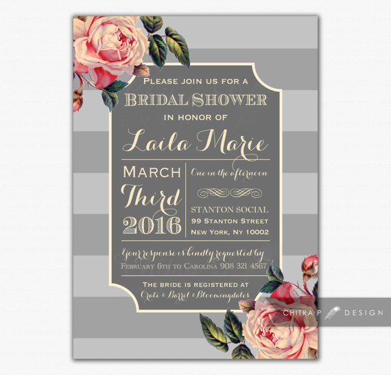 english rose bridal shower invitation printed or printable vintage baby couples coral paris french grey kitchen tea rustic 051