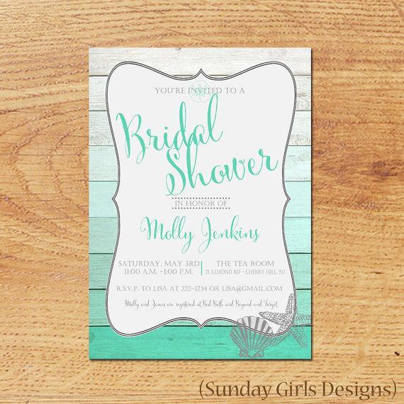 Mariage - Beach Bridal Shower Invitation-Digital Custom Card-Ombre