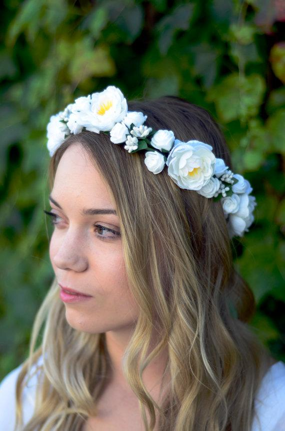 THE ARIA - Bridal White Flower Crown Floral Wreath Woodland Rustic ...