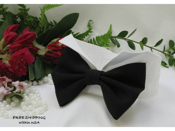 Mariage - Black Linen Oversized Bow Wingtip Tuxedo Collar ~ Custom Made~Best Man~Dog Wedding Collar~Formal~Dog Wedding Tuxedo~Free Shipping Within USA