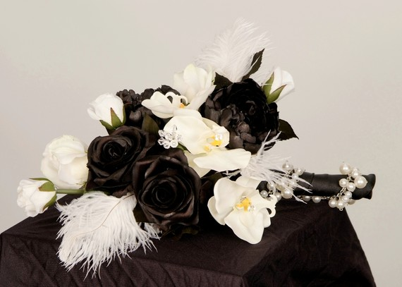 Wedding - Wedding Flowers Bridal Bouquet Black boutonniere set Ready Ship Couture faux white orchids Feathers Modern accessories destination