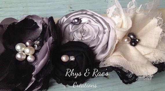 Mariage - Black & Silver Fabric Flower Bridal Sash, Black Wedding Sash, Silver Satin Sash, Black Lace Flower Sash, Black Ruffled Lace, Bridesmaid