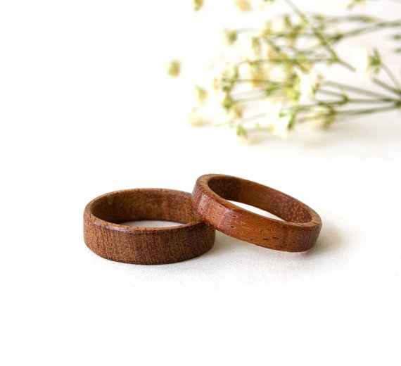زفاف - Mahogany Rings Set, Wooden Bands, Minimalist Wooden Rings, Natural Wedding Ring, Jewellry, Minimalist Rings, Mahogany Jewelry, Wedding Rings