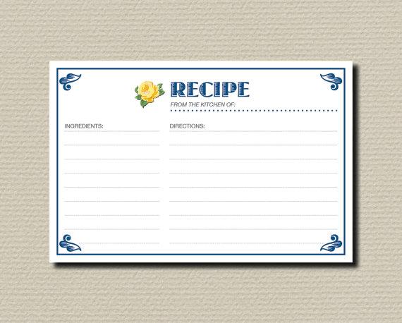 Mariage - Bridal Shower Recipe Cards - Vintage Yellow Rose Design