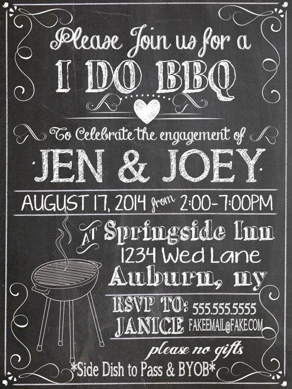 i do bbq invitations modern engagement party chalkboard invites
