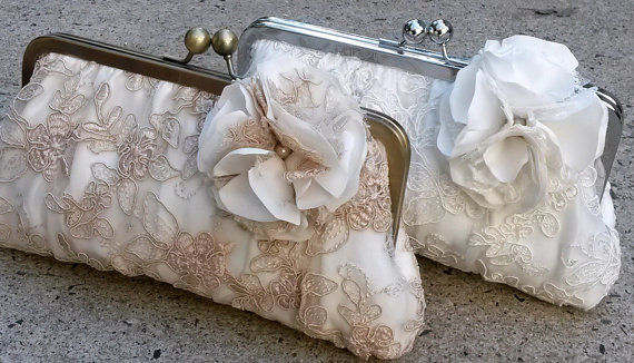Wedding - Lace Bridal Clutch/ Wedding purse/ Ivory clutch- Champagne Clutch- White Clutch (Couture Lace w/ Gathered Pleats)