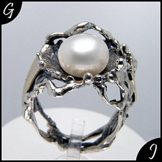 Wedding - Freshwater White Pearl Engagement Ring, 925 Sterling Silver & 9k Yellow Gold Promise Ring, Pearl Solitare Ring, Sizable