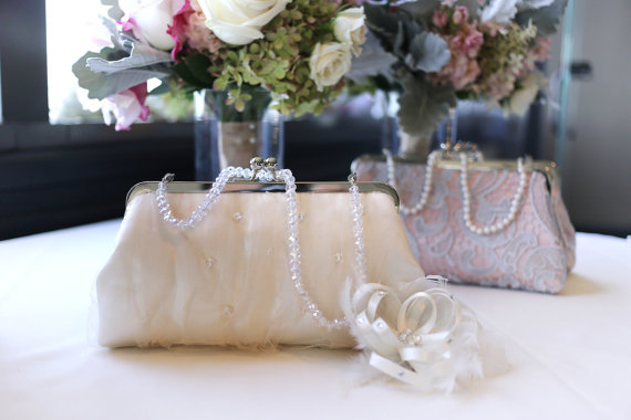 Свадьба - Bridal Clutch with Champagne Tulle and Swarovski crystals  8-inch LAFORET