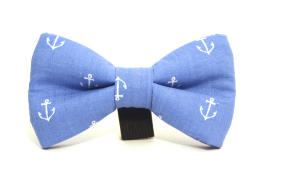 Wedding - Dog Bow Tie, Nautical Dog Bow Tie, Nautical Bow Tie, Doggie Bow Tie