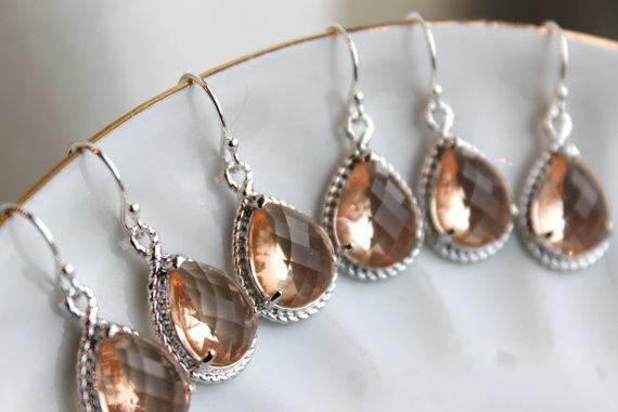Свадьба - 10% OFF SET OF 3 Wedding Jewelry Bridesmaid Earrings Bridesmaid Jewelry - Champagne Blush Earrings Silver Peach Teardrop - Bridal Earrings