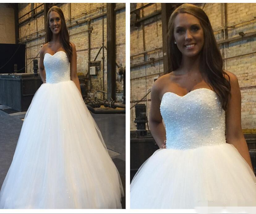 Свадьба - 2015 Cheap Wedding Dresses Real Image Sweetheart Beaded Sequins Sleeveless White Bridal Ball Gowns Tulle Chapel Train A-Line Custom Made Online with $129.06/Piece on Hjklp88's Store