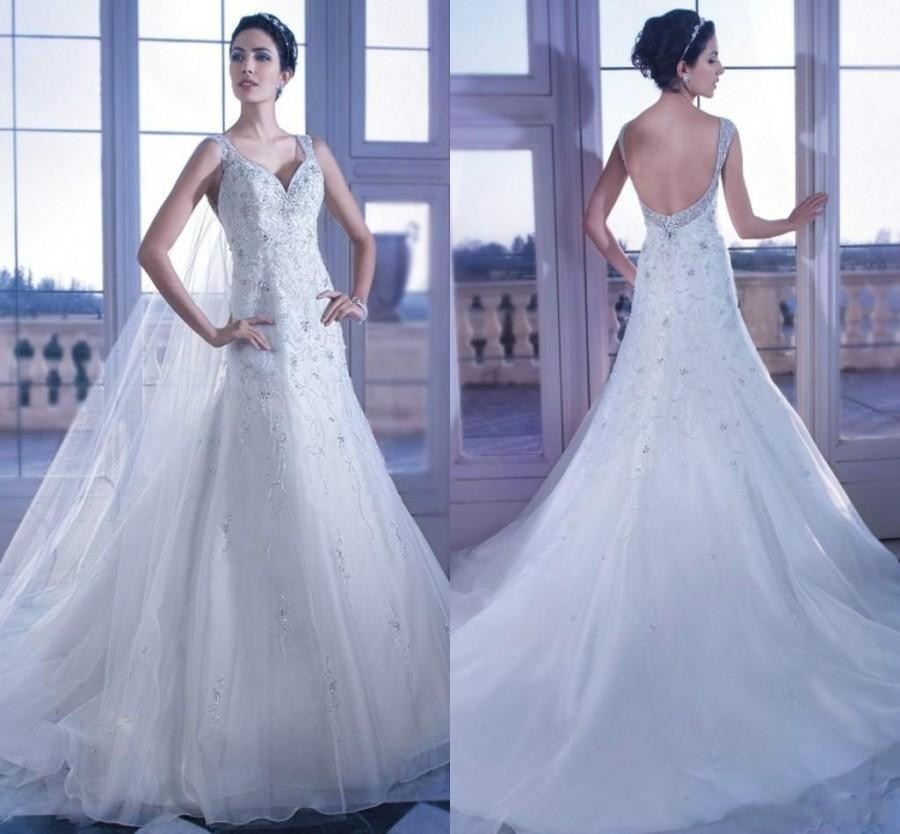 2017 Elegant Beach Wedding Dresses Shiny Crystal Bead V Neck Court Train White Tulle A Line Bridal Ball Gowns Dress With Sleeveless Backless Online