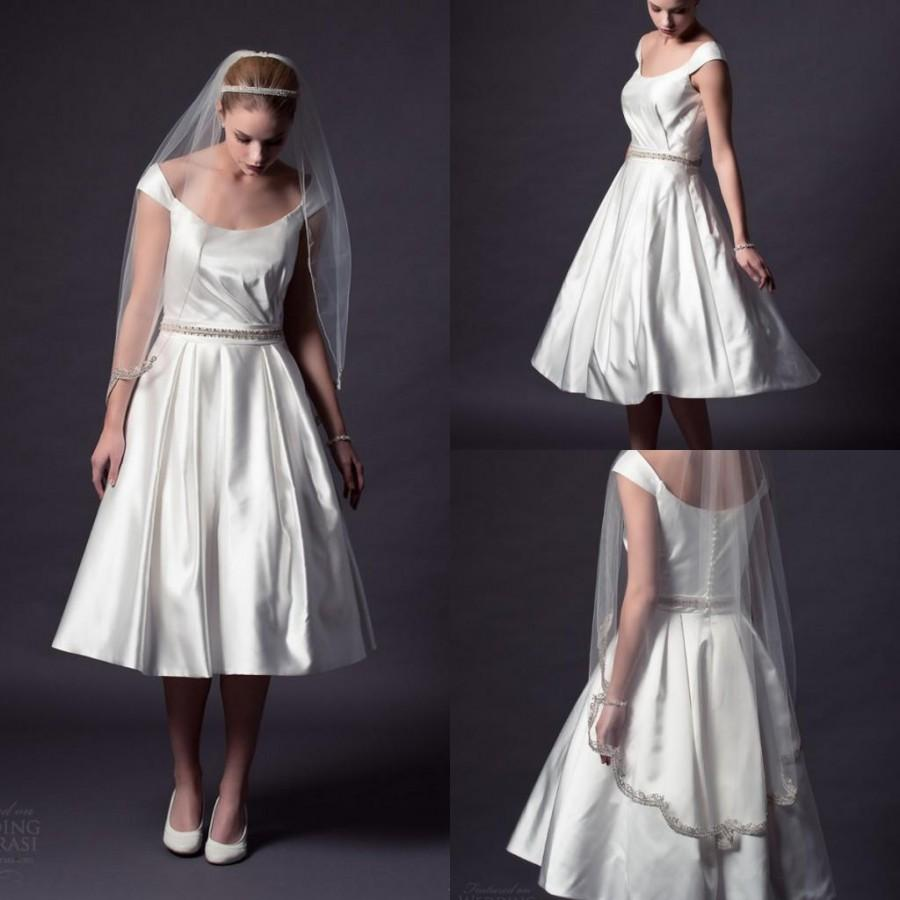 New arrival 2015 beach wedding dresses short a line scoop for Plus size silk wedding dresses