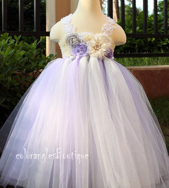01f110641dd Flower girl dress Gray Wisteria Ivory tutu dress baby dress toddler  birthday dress wedding dress 1T 2T 3T 4T 5T 6T